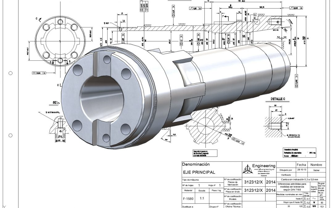 Boring machine shaft 3D model.