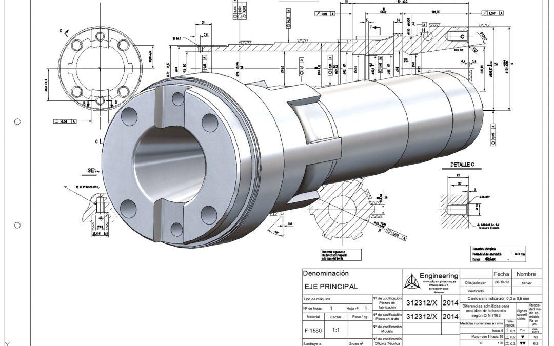 Boring machine shaft 3D model.