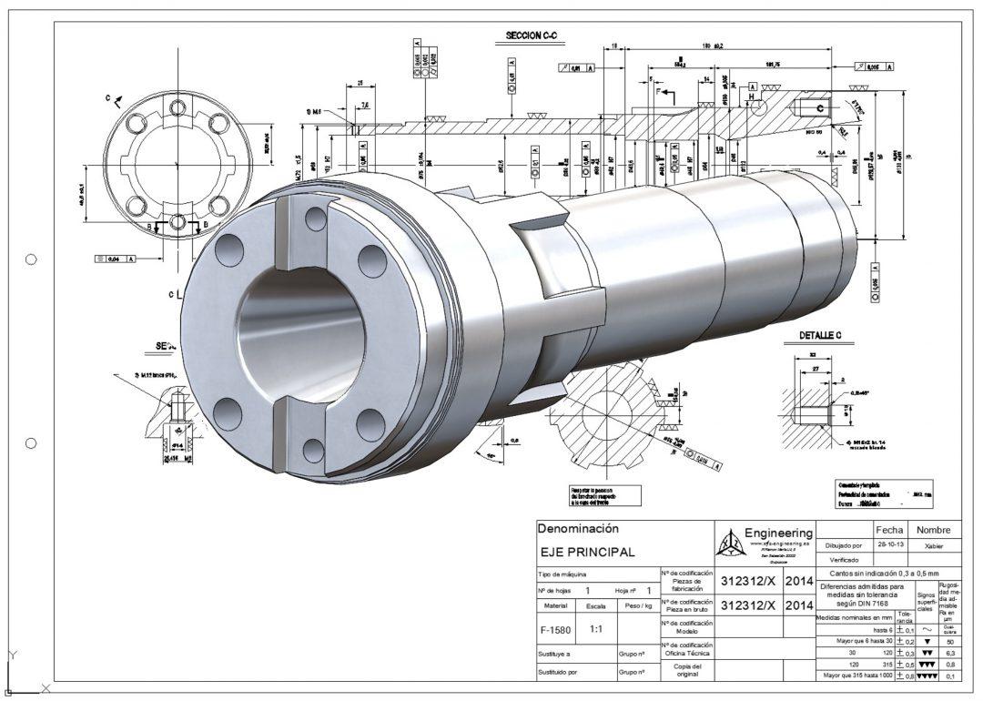 XYZ engineering proyectos de ingeniería modelado de eje madrinadora
