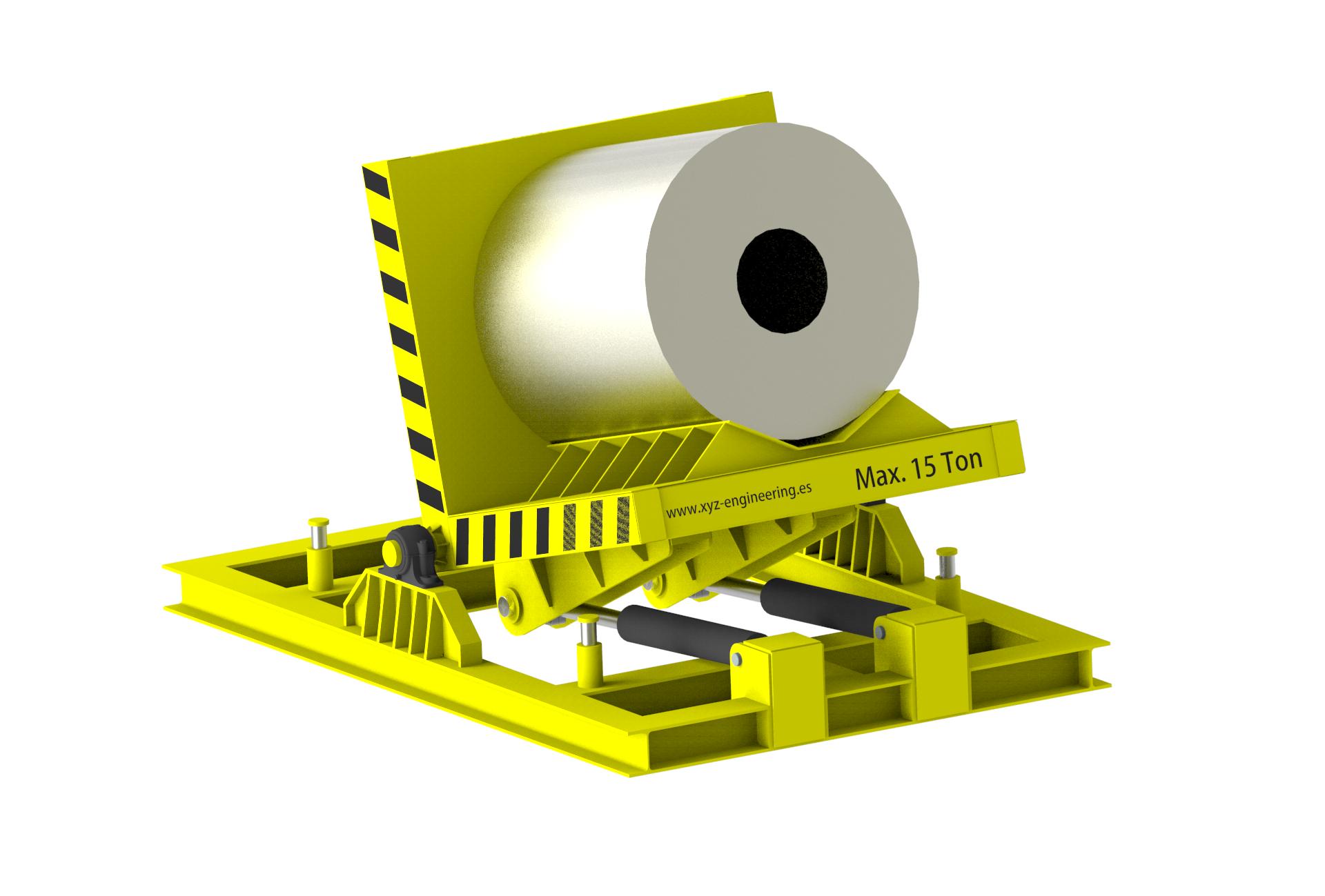 Volteador de bobinas. Elevador de bobinas. Transportador de bobinas. COil turner. Coil tilting
