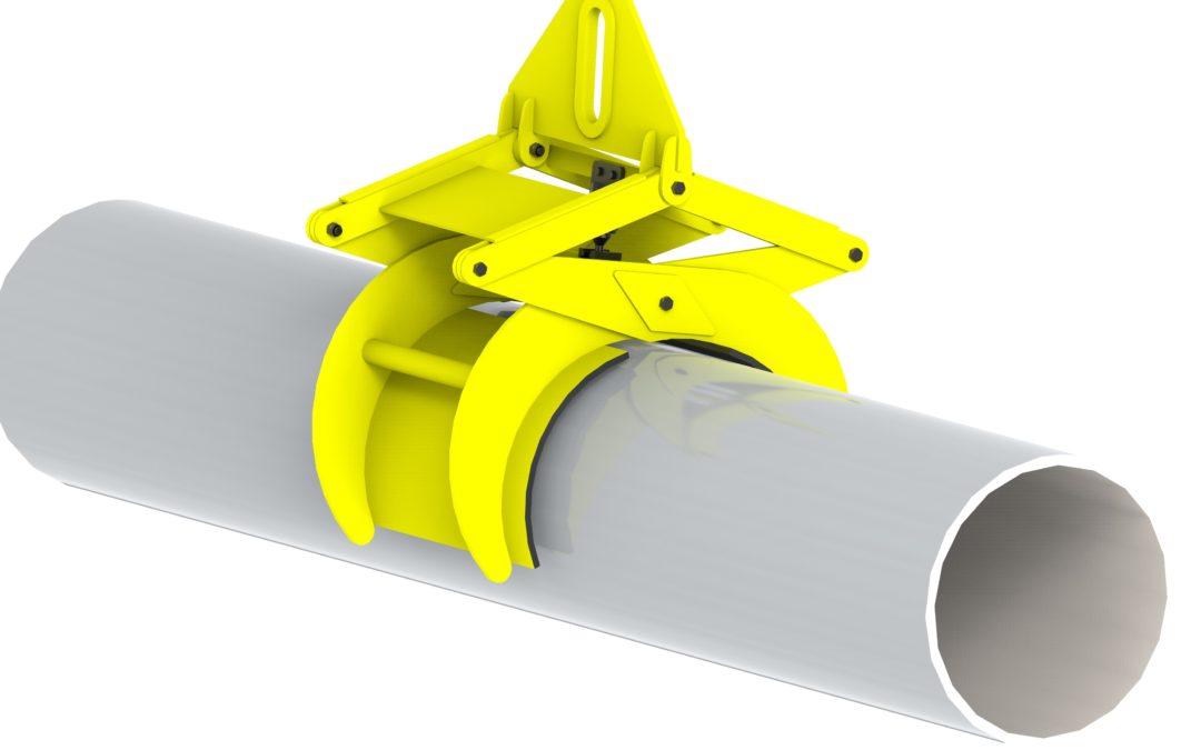 Pinza elevación tubos alta capacidad.